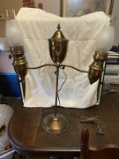 Antique Manhattan Brass Co. Student Gas Lamp Double Shade - Electrified As Is