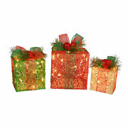 Northlight 3 Led Glitter Gift Box Outdoor Christmas Decorations