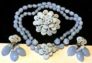 Miriam Haskell Set Rare Vintage Signed Baby Blue Glass Necklace Brooch Earrings