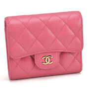 Used A84029 Tri Fold Wallet Caviar Skin Pink Color With Storage Bags Box