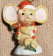 Christmas Mouse Ornament 2.5 Inches Porcelain