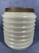 Rare Vintage Sellers / Hoosier Glass Canister / Jar W/ Lid Milk White And Ribbed