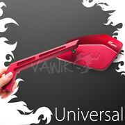Vawik- Red Mirrors Cnc Cleaver Look Fits Motorcycle Cafe Racer Bobber Andtheta