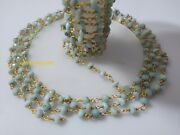 10 Feet Natural Larimar 4-4.5mm Beads Rosary Beaded Chain 24k Gold Plated Wire