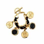 Auth Bracelet Leather Chain Coin Charm Gold Black L14cm Coco Mark F/s