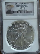 2012-w, Ngc Ms70, Burnished American Silver Eagle, First Releases