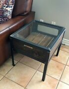 Rustic 36.5l X 24.5w Shadow Box Display Side Table Iron Frame Reclaimed Wood