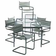 Mid-century Modern Glass And Chrome Milo Baughman School Dining Table And Chair Set