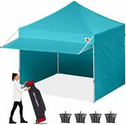 Abccanopy Ez Pop Up Canopy Tent With Awning And Sidewalls 10x20 Turquoise