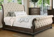 Luxurious Sleigh Queen Size Bed Rustic Natural Tone Wood Carvng Tufted Fabric Hb
