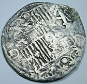 1400s-1500s A Countermark Ferdinand And Isabella Spanish Silver 1 Reales Coin