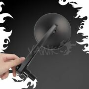Vawik Motorcycle Bar End Round Mirrors Eclipse Black Fits Direct Bolt-on M16