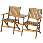 2-seater Folding Garden Bench With Tea Table Solid Acacia Wood Outdoor Bistro Us