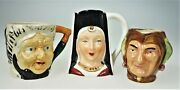 3 Miniature Porcelain Toby Jugs Cups Pitchers Old Man Jester Nobel Lady Guinever
