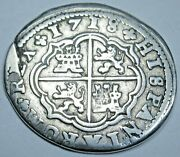 1718 Spanish Silver 2 Reales Genuine Antique Colonial 1700and039s Two Bit Pirate Coin