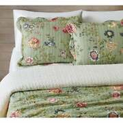 New Cozy Cottage Chic Sage Green Yellow Pink Rose Blue Shabby Soft Quilt Set