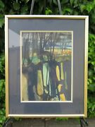 Signed Framed Joan Gunther Modernist Expressionist Watercolor 12-1/8 W X 15 T