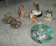 Owl Collection 7-piece Lot Lefton Knowles Flambro Homeco