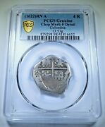 Pcgs 1622 Cartagena Colombia 4 Reales 1600's Spanish Colonial Silver Cob Coin