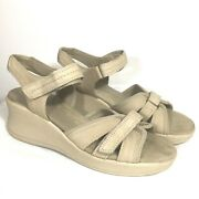 Easy Spirit Anti Gravity Leather Shoes Sandals Womens 10 M Tan Wedge Heel