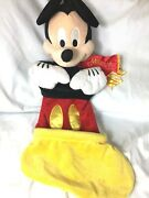 Disney Parks Authentic Mickey Mouse Stocking Large With Plush Head Scarf Rare