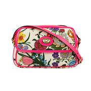 Nwt Fuchsia Pink Canvas Leather Floral Print Small Shoulder Bag