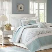 Beautiful Cottage Shabby Chic Blue White Ruffle Lace Beach Country Quilt Set