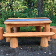 Handmade Bespoke Wooden Dining Room Table 8 Seater Oak And Slate Eco Outdoor Solid