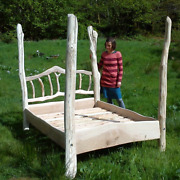 Handmade Bespoke Wooden 4 Poster Bed Recycled Driftwood Eco Rustic Reclaimed