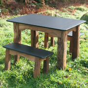 Handmade Bespoke Wooden Dining Room Table Garden Solid Oak And Slate Outdoor Large