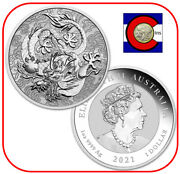 2021 Australia Dragon 1oz Silver Bu Coin In Mint Capsule-chinese Myths And Legends