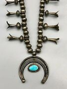 Splendiferous 1950s Era Sterling Silver And Turquoise Squash Blossom Necklace