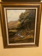 C1980s Soothing Signed Oil Painting Pastoral Boy Fishing In A Creek W/ Sisters