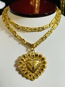 22k 916 Fine Yellow Real Uae Gold 18andrdquo Long Womenandrsquos Heart Set Necklace 5mm 16.15g