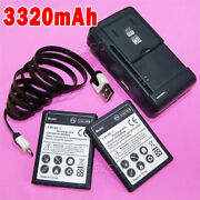 2x 3320mah Li_ion Extra Battery Charger Cable For Cricket Lg Optimus L70 D321 Us