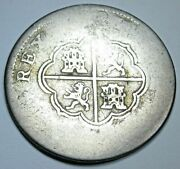 1700s Spanish Silver 2 Reales Genuine Antique Colonial Two Bit Pirate Cross Coin