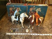 Lot Of Hartland Figurines The Lone Ranger And Tonto With Boxes And Accessories