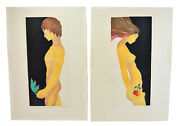 """1960's Misha Moracha Modern Embossed Sgnd L/e Lithographs """"adam"""" And """"eve"""" Nudes"""