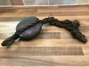 Vintage Wooden Ships Single Pulley Block With Rope Strop Maritime Marine