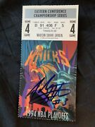 1994 Nba Eastern Conference Finals Game 4 Ticket Stub Autographed By John Starks