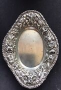 Stieff Sterling Silver Oval Candy Dish Bowl Heavy Repousse Floral Gram Beauty 70