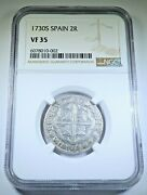 Ngc Vf-35 1730 Spanish Silver 2 Reales Genuine Antique 1700's Pirate Cross Coin