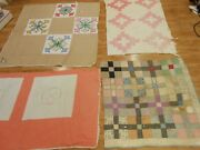Mixed Cutter Lot 4 Vtg Antique Distressed 1910 - 1930 Hand Stitched Quilts Pc