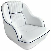 Leader Accessories Pontoon Captains Bucket Seat Boat Seat White/navy Blue Piping
