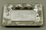 Japanese Sterling And Cloisonnandeacute Enamel Tray Meiji - Signed 8andrdquox6andrdquo