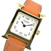 Wristwatch Hermes H Watch Hh1.101 Womenand039s Used Gold Orange Leather 20mm