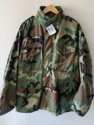 Mens Us Army M-65 Field Jacket Coat Cold Weather Woodland Camo Size Large Short