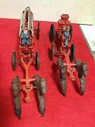2 Vintage Toys, Cast Iron, Horse Drawn Fire Truck Wagons With Ladders, Firemen