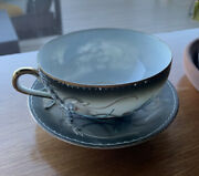 Very Rare Dragonware Lithopane Tea Cup And Saucer - Posing Nude - Sterling China