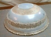 Antique Frosted Blue And Clear Glass Light Shade Laurel Wreath Design